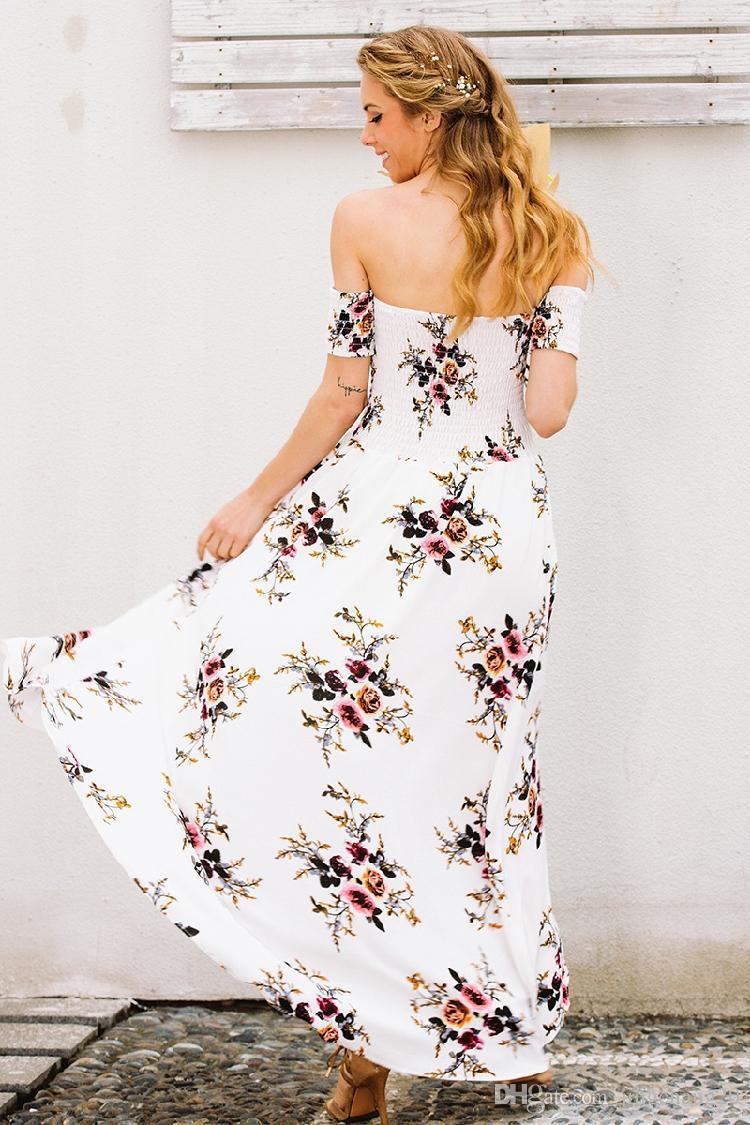 A new spring explosion word shoulder chiffon Printed Dress split bra girls loved very much