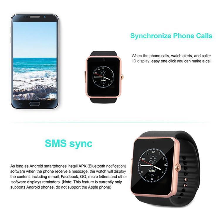 GT08 الذكية ووتش Smartwatches بلوتوث للحصول على فتحة بطاقة SIM الروبوت الهواتف الذكية NFC للساعات الصحة لالروبوت مع صندوق البيع بالتجزئة