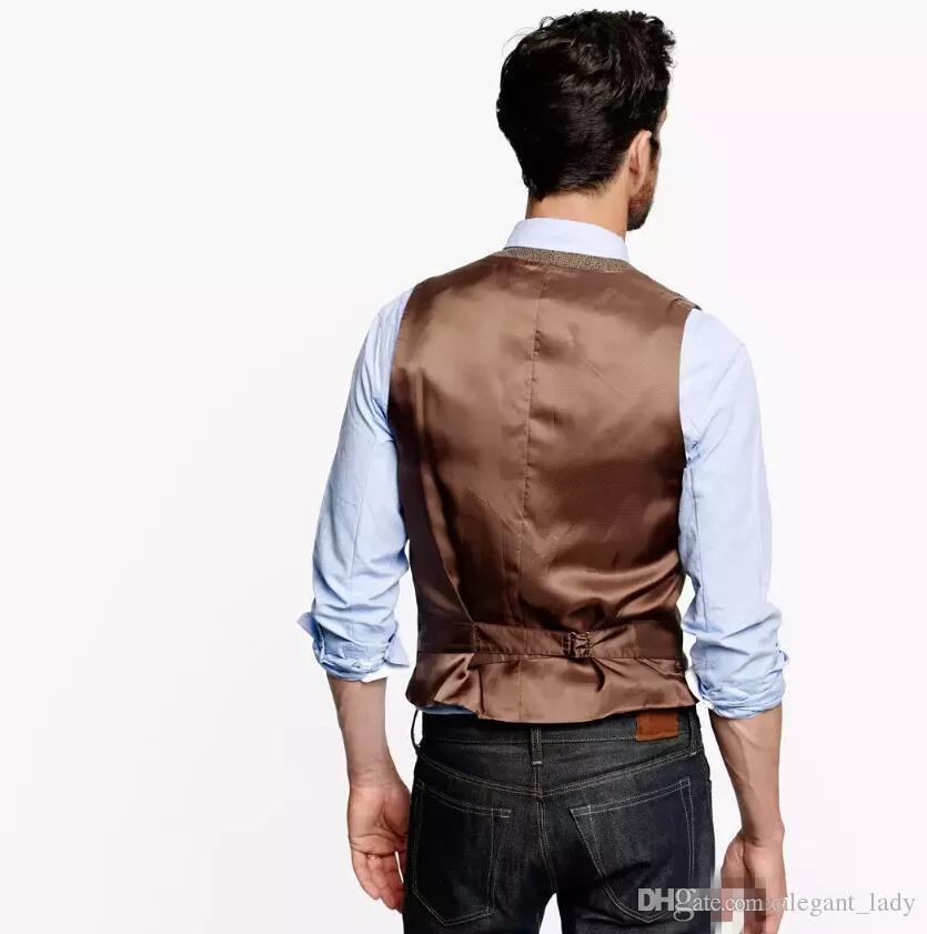 2018 İngiliz Country Tarzı Çiftlik Düğün Kahverengi Yün Balıksırtı Tüvit Yelekler Custom Made Damat Suit Yelek Slim Fit Düğün Yelek Erkekler Artı Boyutu