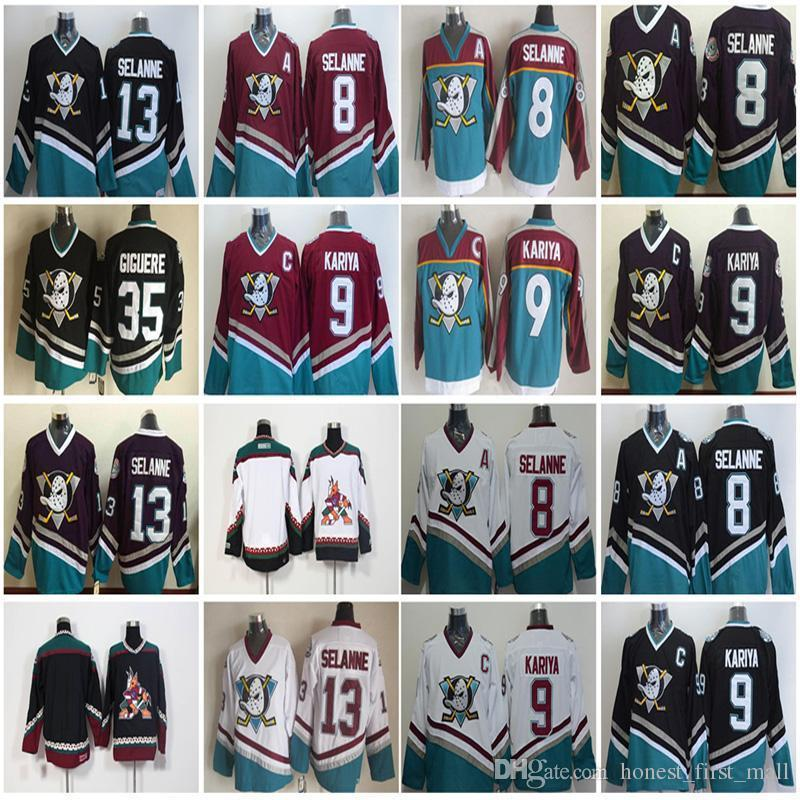 d4a428c27 2019 Vintage Anaheim Mighty Ducks 8 Teemu Selanne Hockey Jerseys 9 Paul  Kariya 35 Jean Sebastien Giguere 13 Selanne 1998 CCM Jersey Purple From  Chen shop