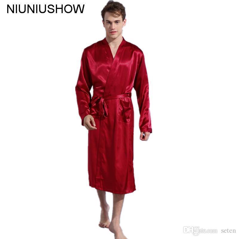 2019 Burgundy Size S XXL Chinese Men S Rayon Satin Casual Nightwear Robe  Gown Solid Color Kimono Bathrobe Sleepwear Pajamas From Seten 0cc43f1c6