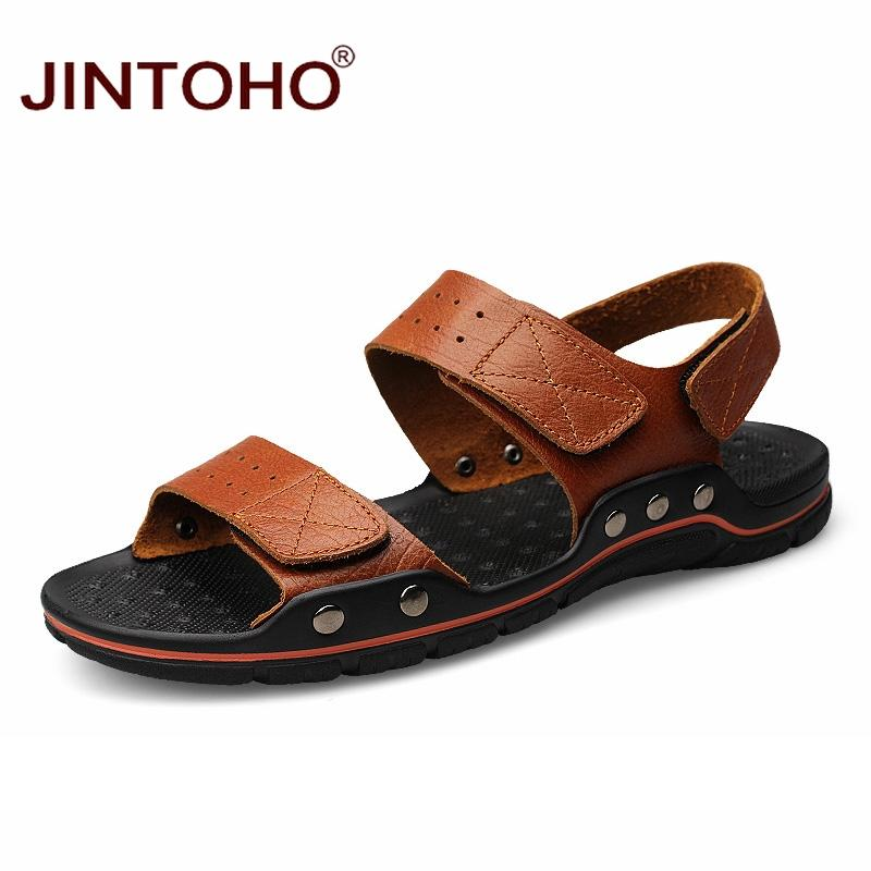 7d32f53a39e6c JINTOHO Big Size Men Leather Sandals Fashion Breathable Male Leather Sandal  Summer Men Beach Shoes Beach Sandals Slippers Red Shoes Wedge Sandals From  ...