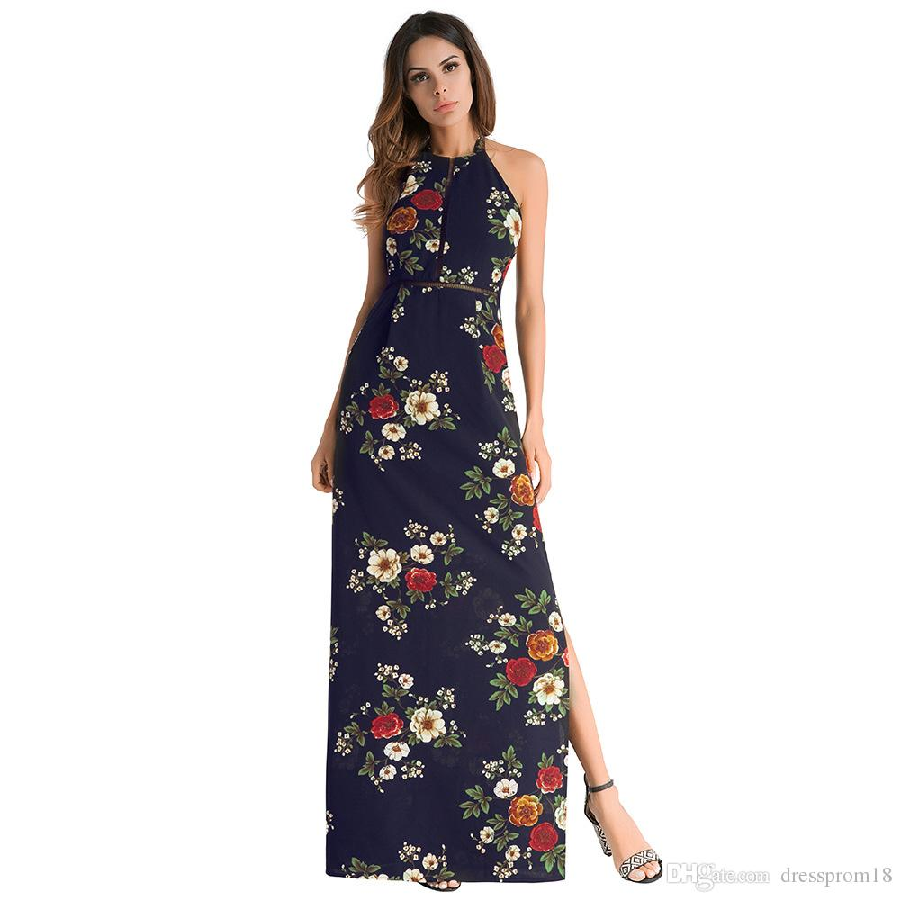 Womens Sexy Side Split Long Halter Maxi Dress 2018 Floral Printed Backless  Long Casual Summer Dress With Sheer Insert Top Dress Usa Black And White  Cocktail ... 6a05c5018