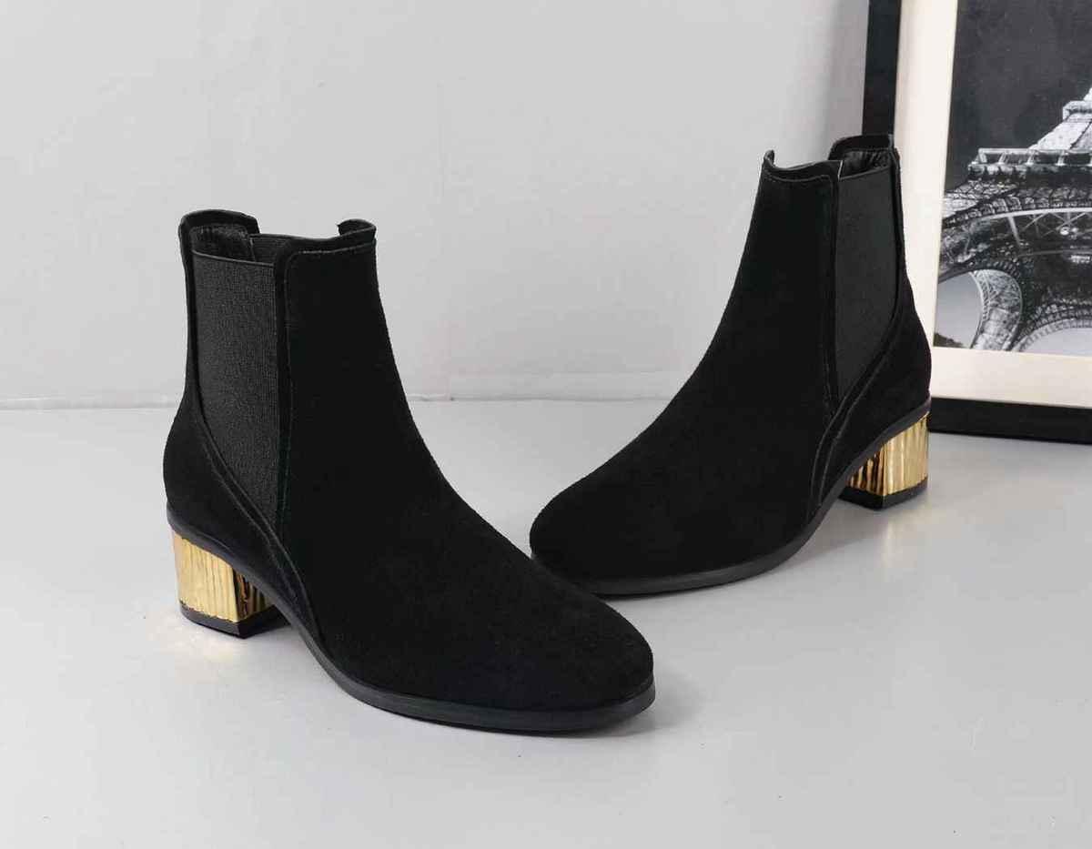 4f73fd6a38a Compre G 2018 Moda Temperamento De Otoño Botas Cortas Mujeres Tacón De Oro  Zapatos De Alto Grado Diseñador De Moda Marca Ladies Cool Negro Y Marrón A   93.47 ...