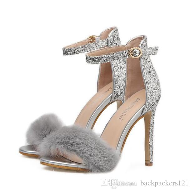 627dbe9026bb6 Compre 2018 Elegante Piel Plata Con Lentejuelas Tobillo Tirantes Tacones  Altos Zapatos De Boda Nupcial Tamaño 35 A 40 A  27.64 Del Backpackers121