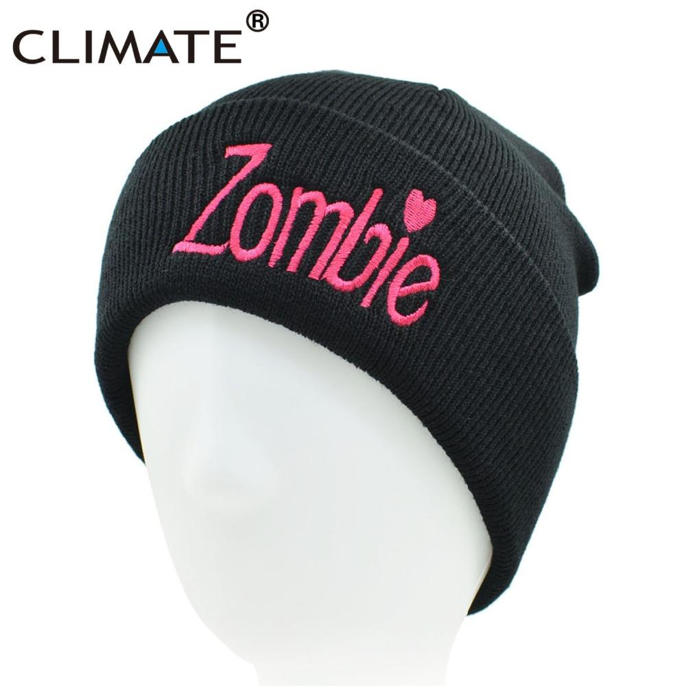 24d8b565418 2019 CLIMATE Women Girl Winter Warm Knit Beanie Hat Skullies Pink Zombie  Funny Black Hat Beanie For Adult Women Girls From Sunnystars