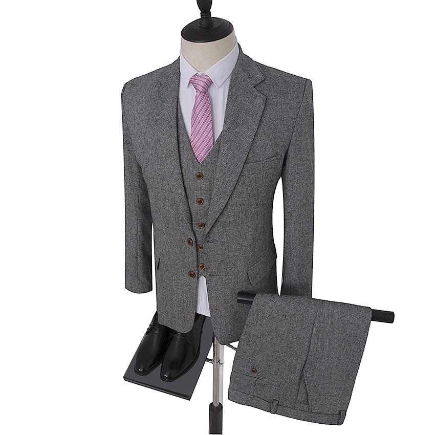 Compre Retro Estilo Caballero Gris Clásico Tweed Trajes De Boda De Sastre  Para Hombres Por Encargo De Lana Slim Fit Blazer Para Hombre Traje De 3  Piezas A ... 1f13c0d1ec6c