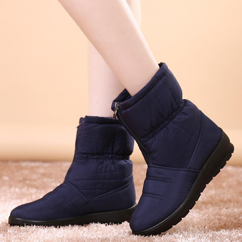 ba3efbe609713 Women Warm Plush Flat Zip Autumn Ankle Snow Boots Plus Size Ladies  Waterproof Fashion Mother Shoes Female Comfort Footwear Leather Boots For  Women Sporto ...