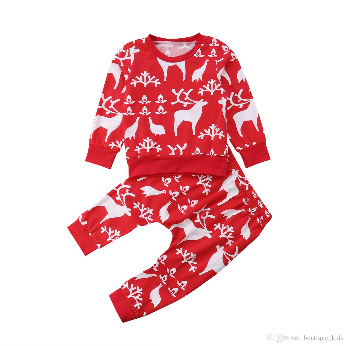 c176bc3eefac8 2019 Newborn Baby Boy Clothes Kids Christmas Clothing Girls Red Xmas  Reindeer Tops Pants 2PCS Outfits Toddler Children Boutique Clothing Set