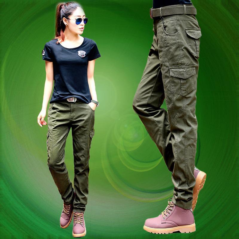 1df8b6c622ff Primavera Otoño mujer Ejército Verde Cargo Pantalones Sportwear Casual  Pantalones rectos Pantalones de camuflaje para mujer