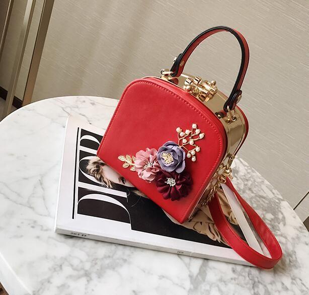 Women Fashion Stereo Flowers Shoulder Bag Ladies Small Vintage Tote Handbag  Purse Chain Handbag Messenger Bag Clutch Bag For Girls Leather Handbags  Hand ... 27039e95870cb
