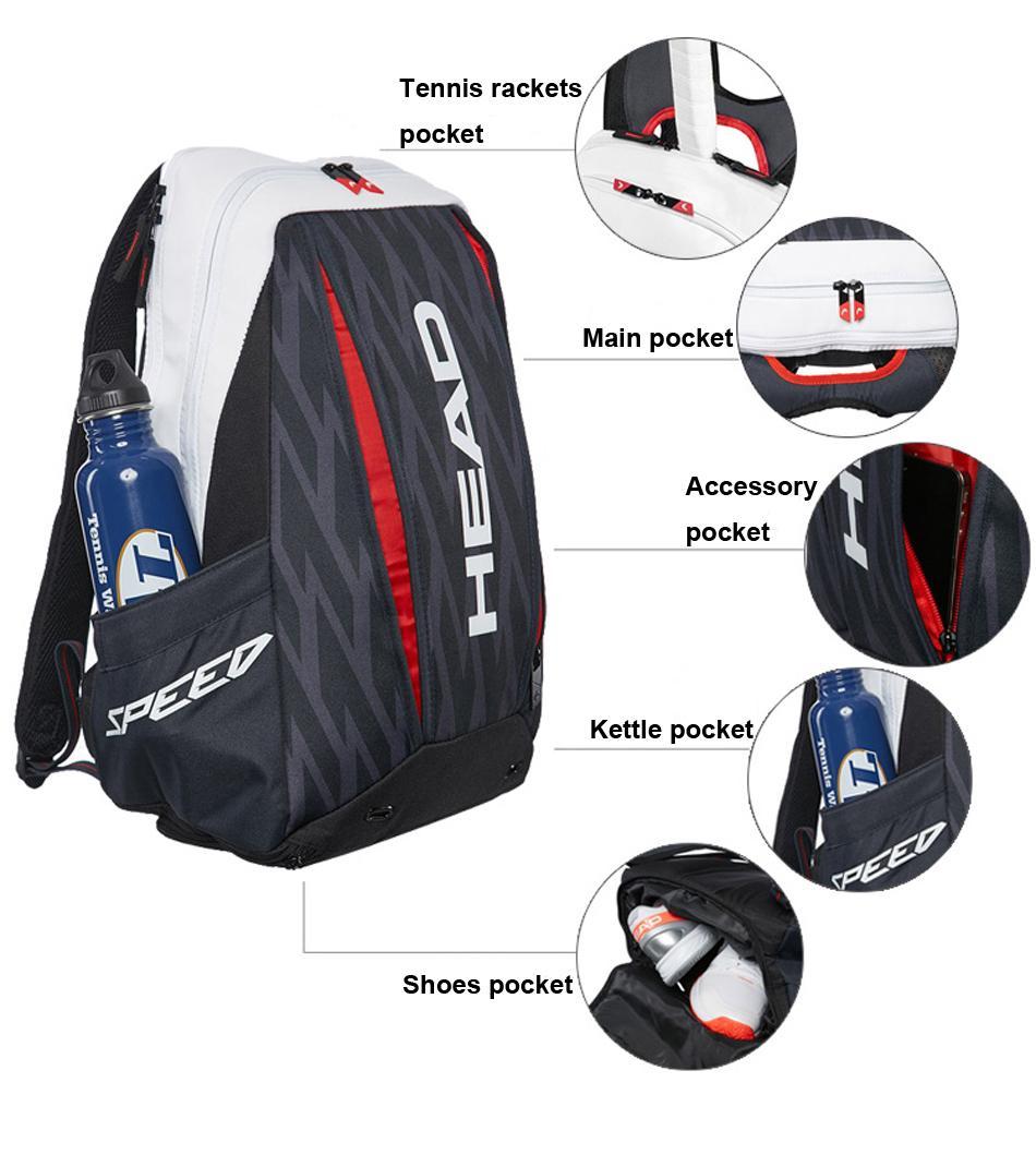 Head Tennis Bag >> Head Tennis Bag Large Capacity 2 3 Tennis Rackets Bag With Separated Shoes Backpack Head Badminton Racket Tenis