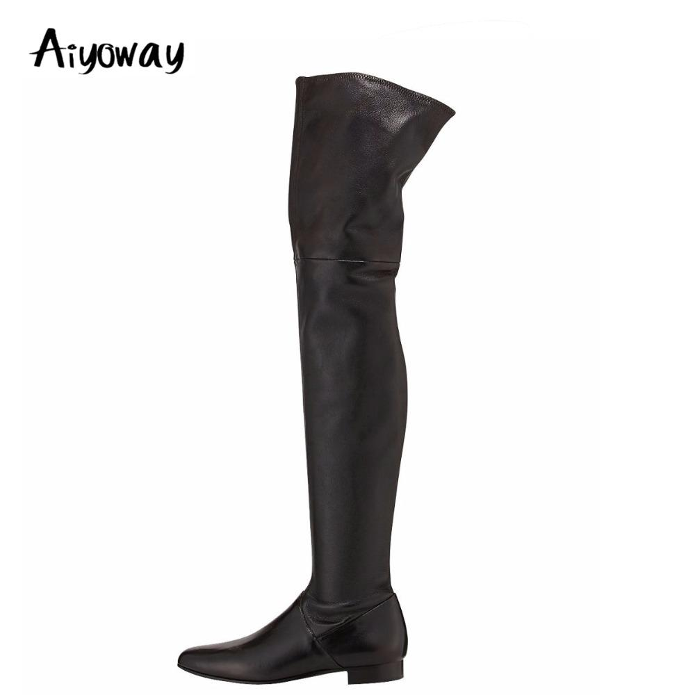 Aiyoway Women Ladies Round Toe Flat Over The Knee Boots Black Side Zip  Winter Warm Long Boots Casual Comfortable US Size 5~12 Winter Boots Over  The Knee ... 963caf70d82b