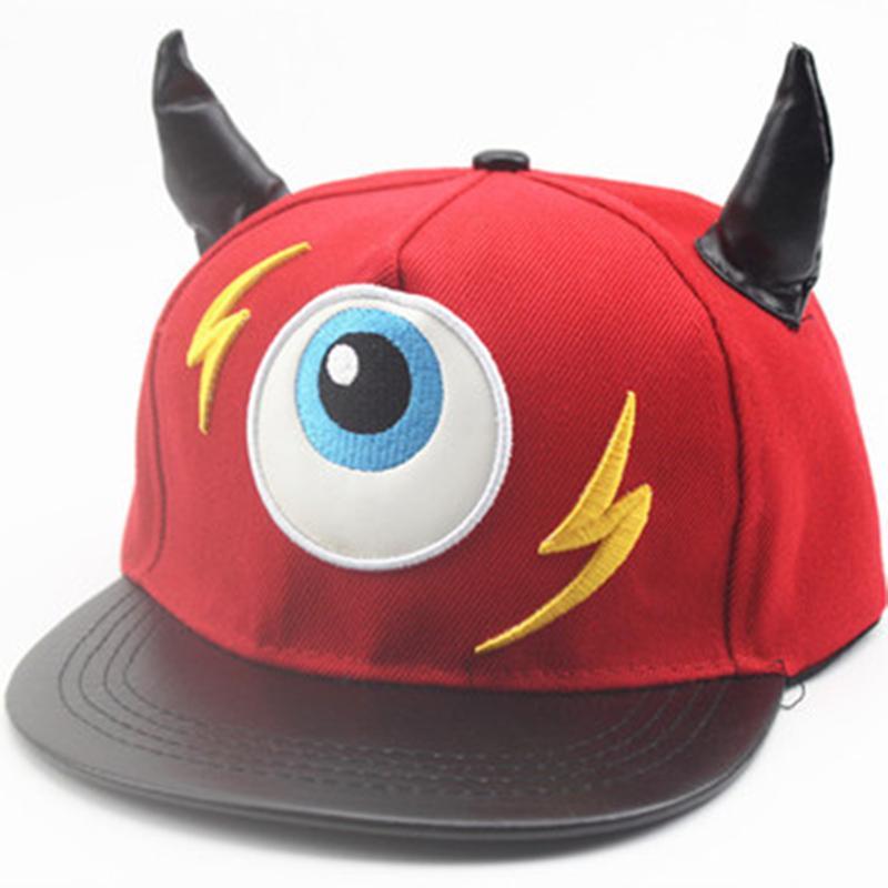f1207504456f61 New Fashion Boy Girl Bone Gorras Snapback Lightning Small Devil Horns Eye  Hip Hop Flat Hats Children Cap Casual Baseball Cap Custom Caps Cool Caps  From ...