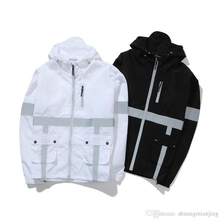 3994ef2681 Dropshipping Giacche di marca donna harajuku riflettente splice giacca con  cappuccio uomo casual amante giacca a vento cappotto casaco feminino ...