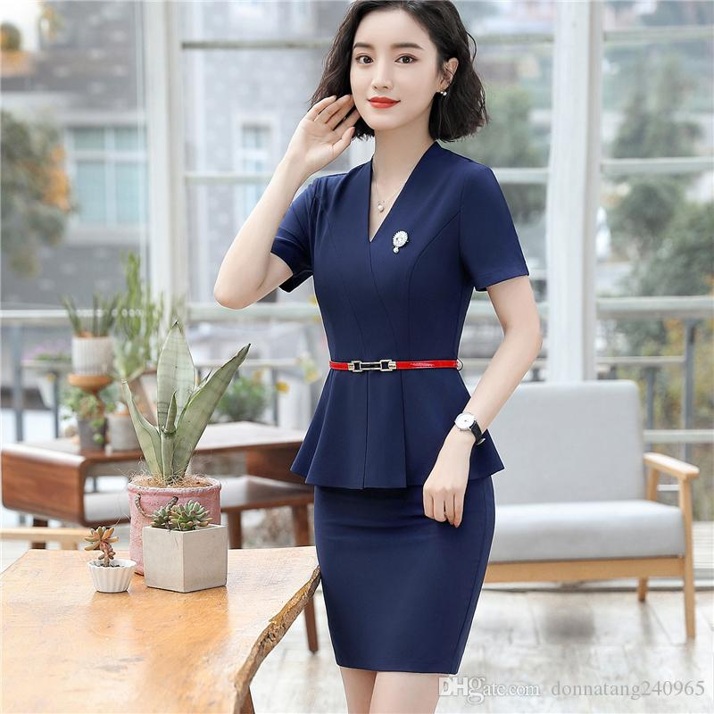 b3705c3a5531 2019 Business Formal Women Carreer Skirt Suit Summer Fashion Elegant Short  Sleeve Blazer And Skirt Office Interview Lady Plus Size Work Wear From ...