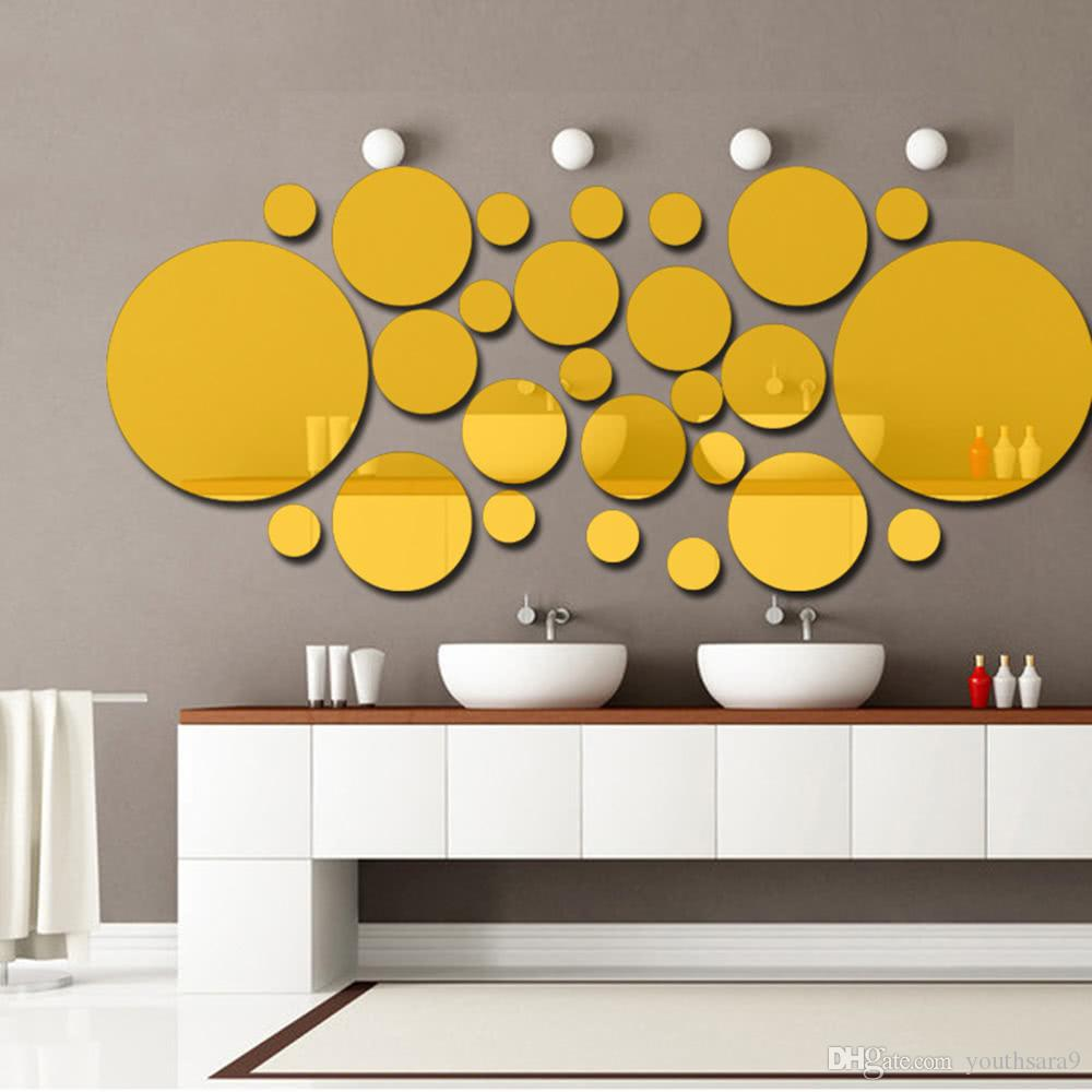 Acrylic Polka Dot Wall Mirror Stickers Room Bedroom Kitchen Bathroom ...