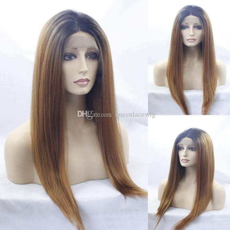 Cosplay Ombre Wigs Black/Blonde 1B/27# Long Silky Straight Lace Front Wig Heat Resistant Glueless Synthetic Lace Front Wigs for Black Women