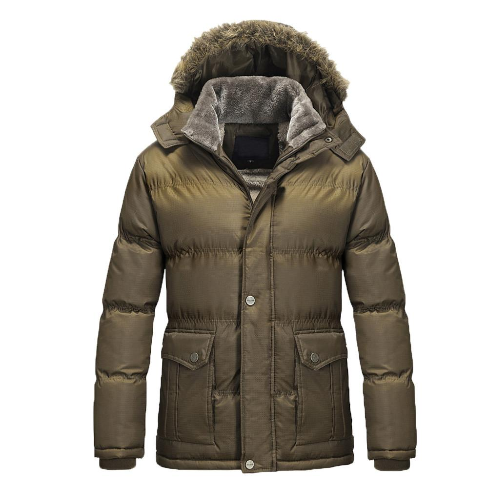 Jacke Kapuzenmantel Herrenbekleidung Dickes Winter Herren Parka Baumwolle Outwear Winter Warm Jacke Fellkragen Mäntel Herren Casual Down jq354ARL