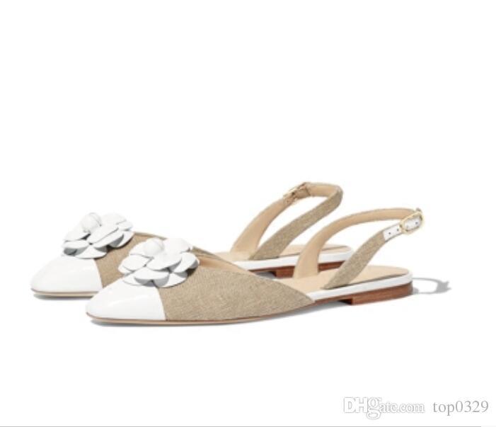 Cuir Casual Sandales Véritable Mode Marque Plat Simple Dames Qualité En De Épissure Ol Sexy Luxe Top Voyage Boutique Camélia Femme Nnw80vm