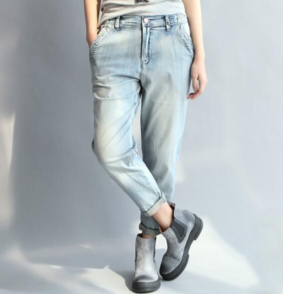 3d3ae13d 2019 98% Cotton Casual Capris Harem Pants Women Denim Jeans New ...