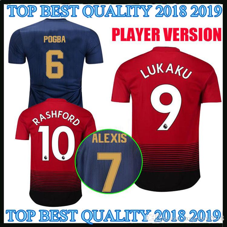 cd6a11963 2018 2019 Manchester United Home Soccer Jersey POGBA ALEXIS LINDELOF ...