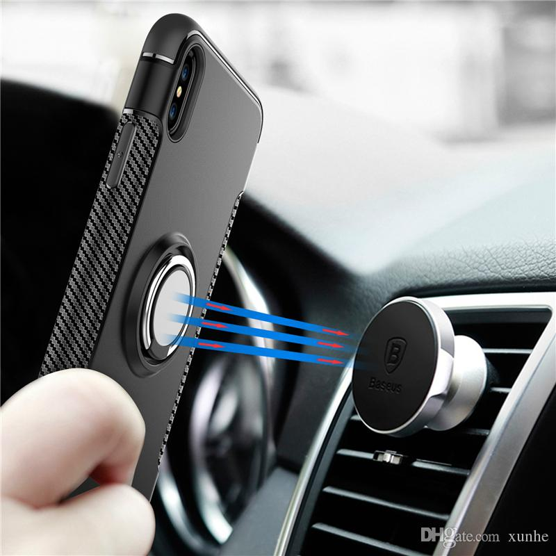 Hybrid Armor Case for iPhone X 8 7 6 6S Plus ShockProof Case with 360° Ring Holder Magnetic Cover for Samsung S8 S9
