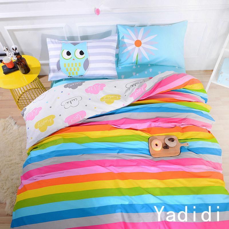 Ya 100 Cotton Rainbow Owl Bedding Set Cartoon Modern Flower Floral