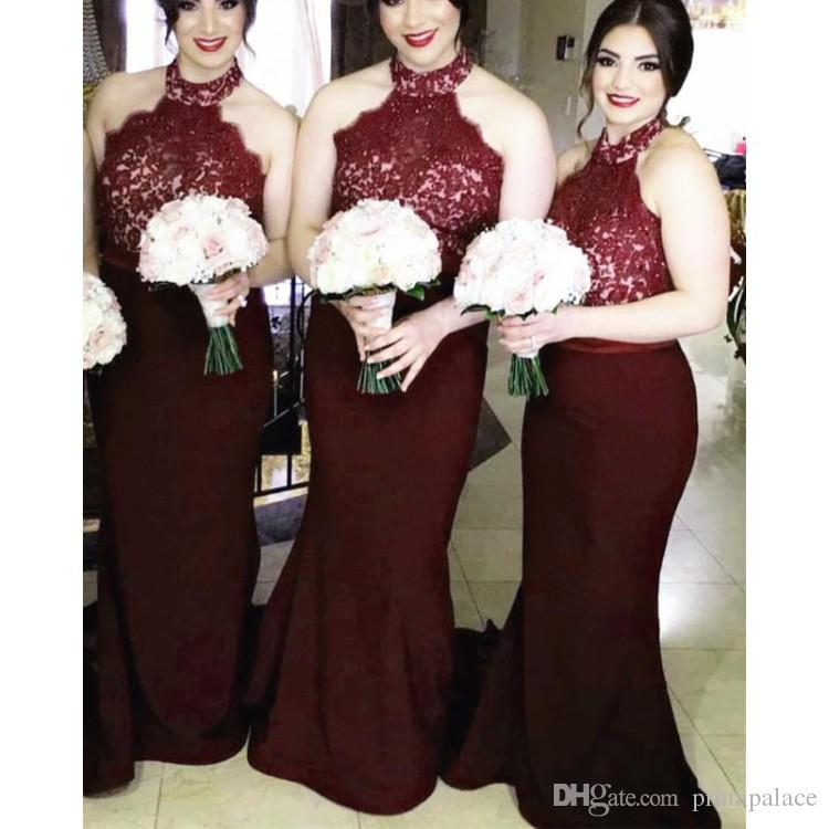 bc5f2c99e27 Burgundy Halter Mermaid Bridesmaid Dresses Sleeveless Lace Top Sweep Train  Appliques Garden Country Wedding Guest Gowns Maid Of Honor Bridesmaid  Dresses ...