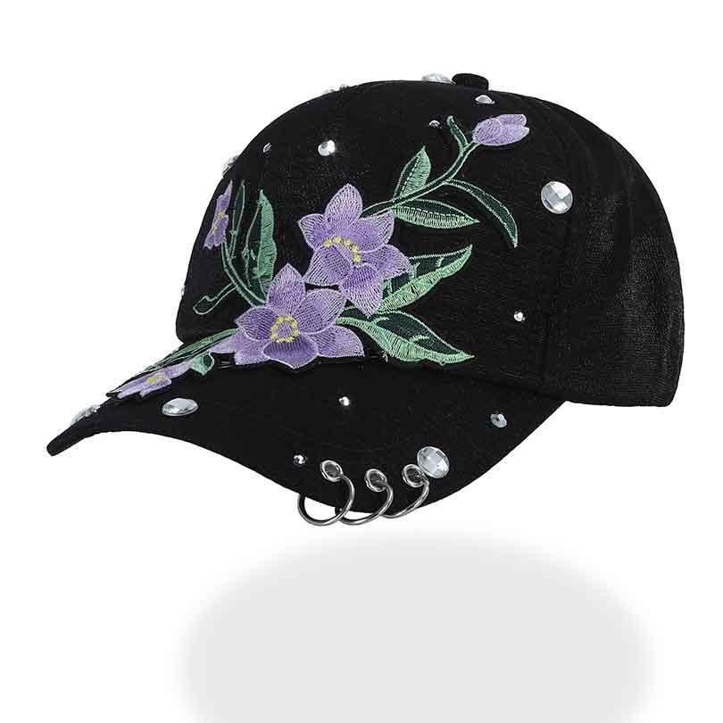 03519e0e9 Compre Bordado Roxo Flor Boné De Beisebol Das Mulheres Anel De Tampa Preta  Com Chapéu Do Papai Snapback Chapéus Para Cocar De Frenky