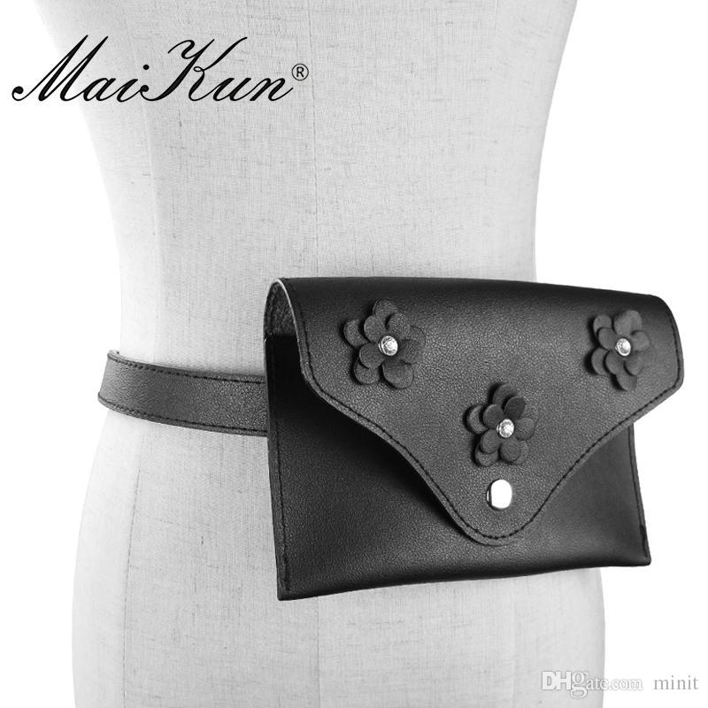 d66b0b598a1 Fashion Women S Money Belt Bag Female Floral Soft PU Leather Waist Bag  Double Use High Quality Fanny Pack For A Dress Blue Belt Belt Pouch From  Minit