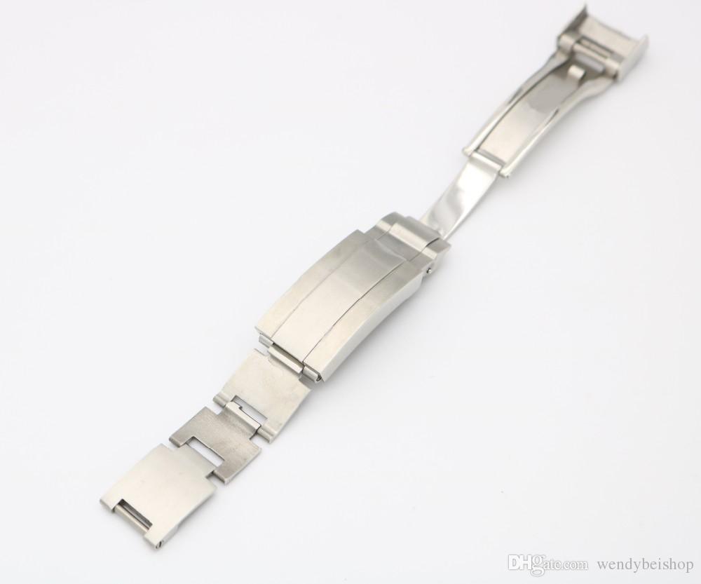 CARLYWET 9 mm x 9 mm Nuevo reloj Banda de hebilla Deslizamiento Flip Lock Despliegue Broche Plata Cepillado 316L Metal sólido Acero inoxidable