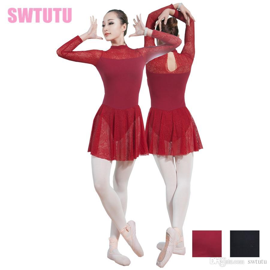 55f9101fad5f 2019 Girls Long Sleeves Mock Turtleneck Dance Lyrical Dress Leotards Women  Dance Training Gymnastics Lace Skirted Ballet Leotards CS0193 From Swtutu,  ...
