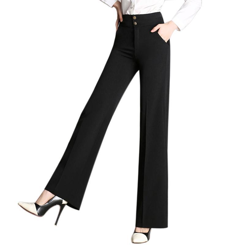 Women High Waist Loose Wide Leg Pants Trousers Zipper Office Women ... 368dac739f69