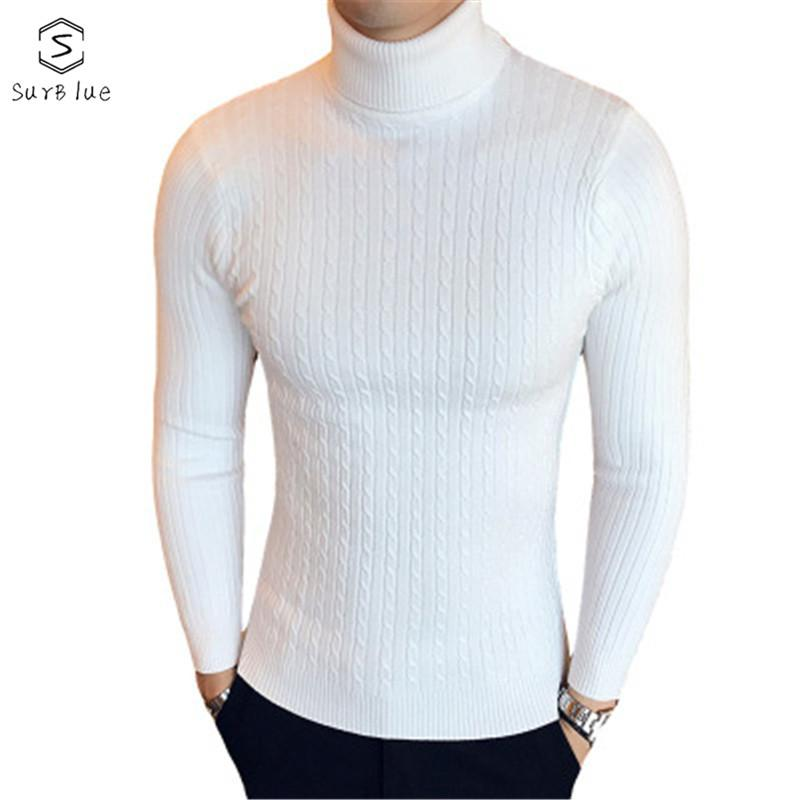 2018 Autumn And Winter Fashion Trend Long-sleeved High Collar Slim Casual Solid Color Sweater Men's Pullover Sweater