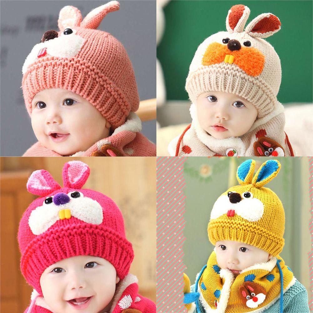 2bafd336 2019 Winter Warm Baby Kids Rabbit Hat Skullies Cute Baby Woolen Beanies Caps  Hooded Hat Scarf Earflap Infant Toddlers Knied Caps From Dejavui, ...