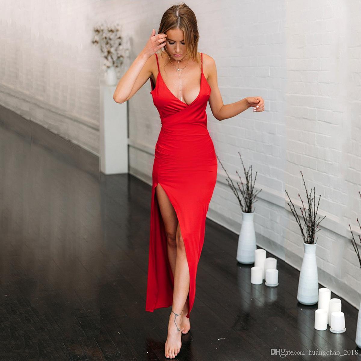 cc2beea289b Sexy Backless Off Shoulder Long Party Dress Red V Neck Split Summer Bodycon  Dress Women Clothes 2018 Vestido De Festa Longo Ladies Cocktail Dress  Teenage ...