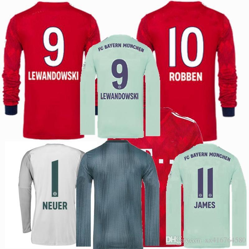Compre 2018 2019 JAMES Munique Manga Longa Camisa De Futebol Bayern NEUER  LEWANDOWSKI MULLER ROBBEN Em Casa Fora 3 Goleiro 18 19 Camisas De Futebol S  2XL De ... c2aa63031860d