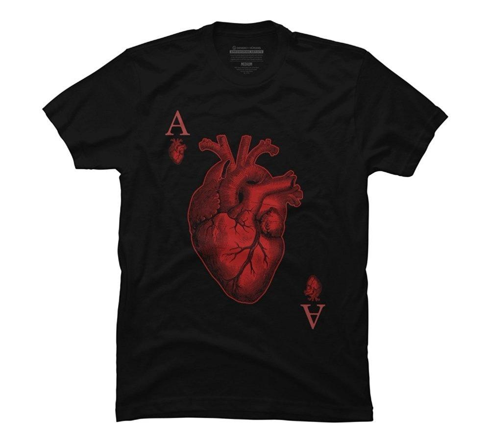 Custom T Shirts Retail Crew Neck Mens Ace Of Hearts Graphic T Shirt
