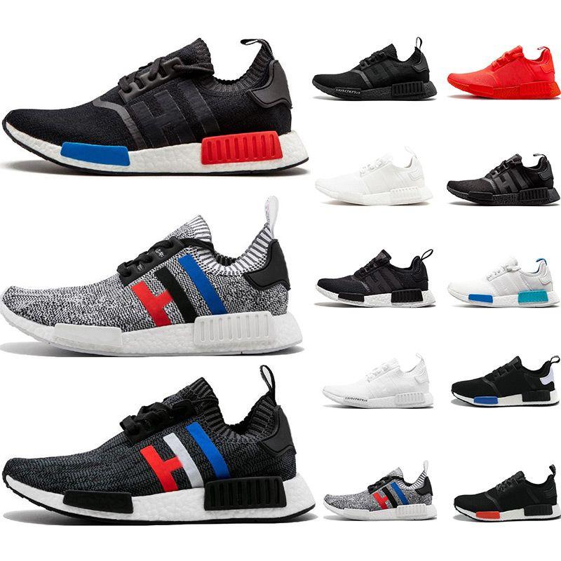 9fef7ed0a223 Cheap NMD R1 Running Shoes Primeknit Classic OG Triple Black White Red  Running Shoes Men Women Beige Runner Sports Sneaker Shoe EUR 36 45 Shoes  For Sale ...