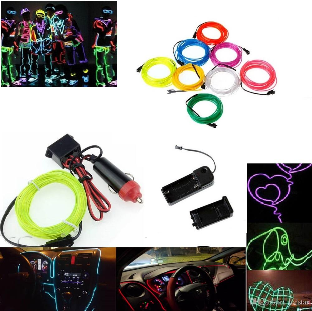 Popular Brand Dc12v Powered 2m Led Light 10 Colors El Wire Tube Rope Flexible Neon Cold Light Car Party Wedding Decor For Fast Shipping Led Strips Led Lighting