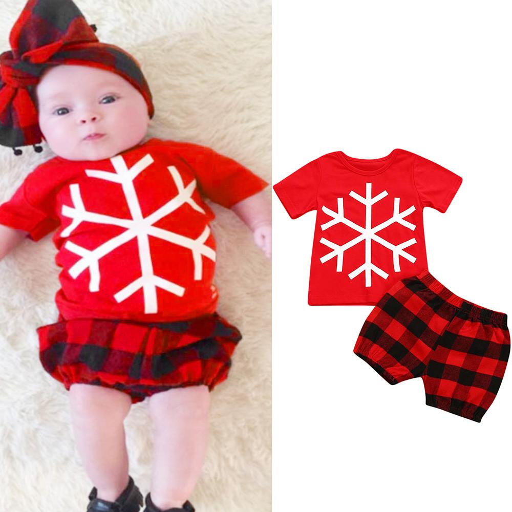 d6441ad7c58c6 ... Clothing Sets From Mother. 2018 christmas clothes set toddler baby  short sleeve snowflake print toppants infant kids girls set christmas