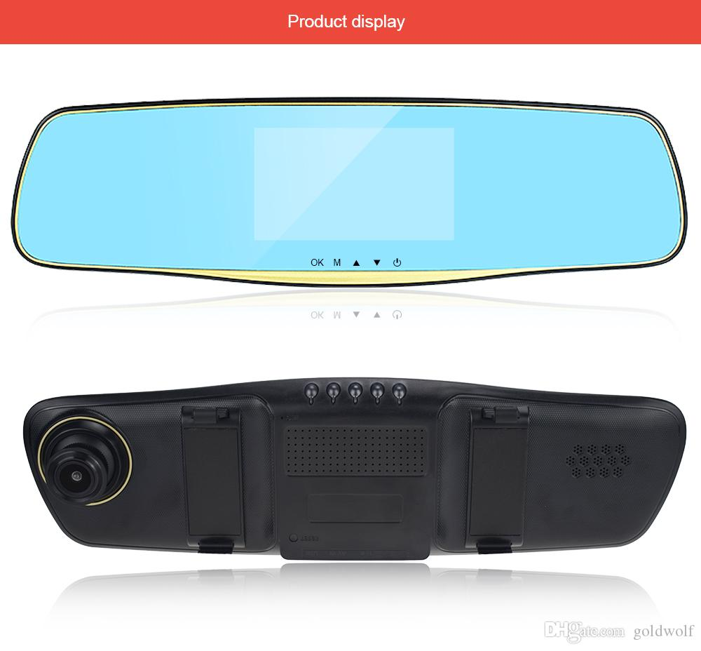 L505c 4.3inch Touch Screen dual lens vehicle car camera rearview mirror auto dvrs cars dvr video recorder registrator dash cam full hd 1080P