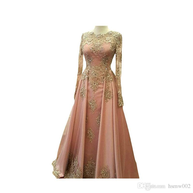 Beaded Gold Lace Appliques Long Sleeves Muslim Evening Dresses Long Floor Length Saudi Arabia Formal Evening Party Gowns Women Formal Dress
