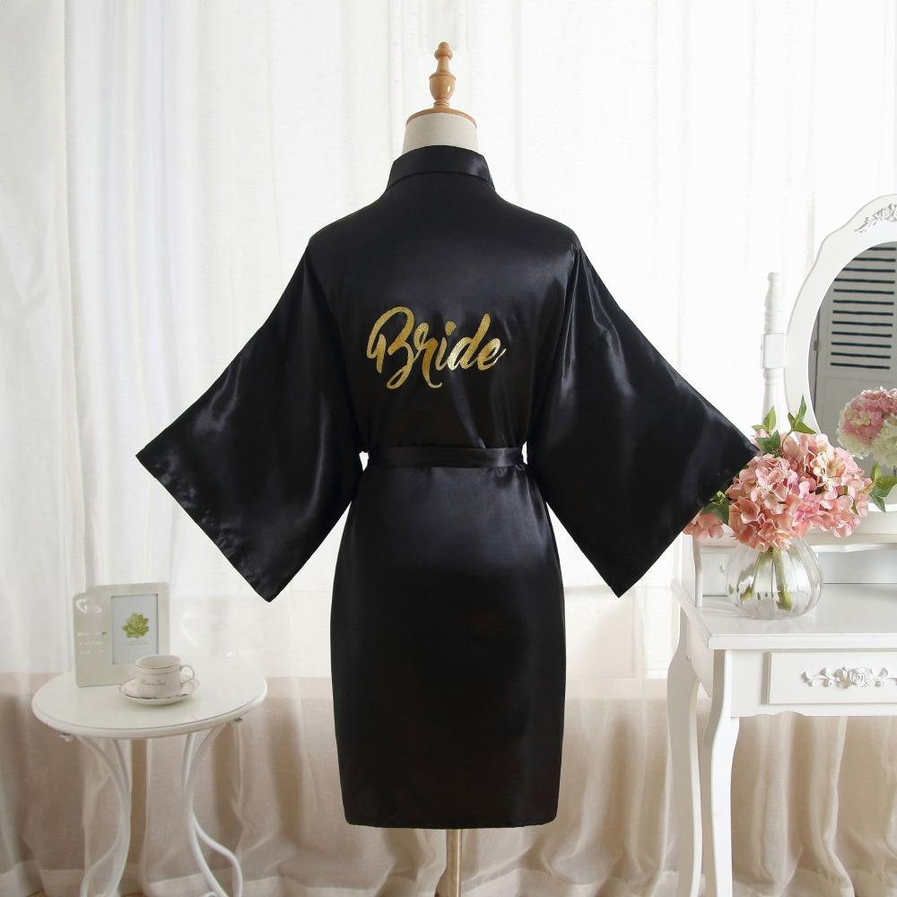 15dc70ed11 Sexy Large Size Sexy Satin Night Robe Bathrobe Perfect Wedding Bride  Bridesmaid Robes Dressing Gown For Women Golden Word Robes Canada 2019 From  Odelettu