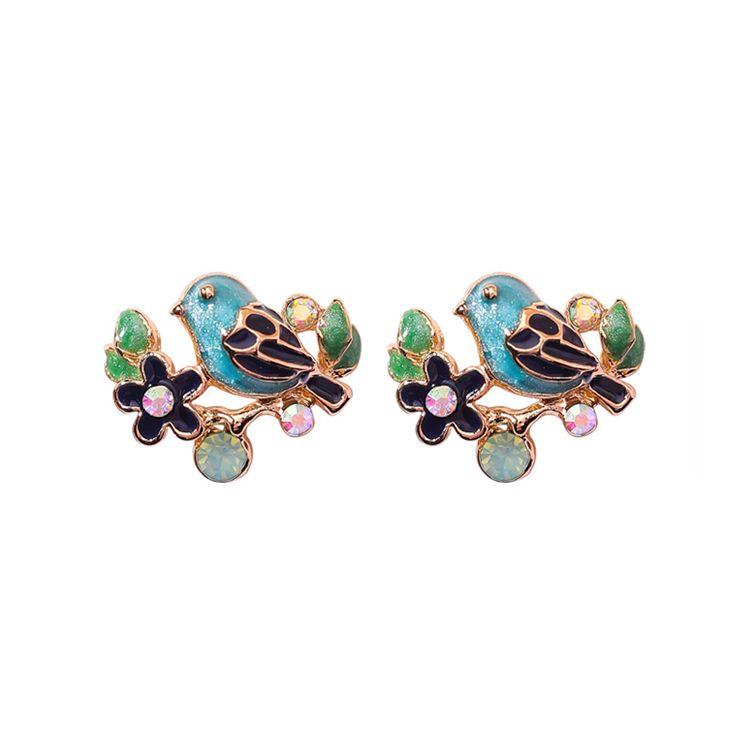 2018 Hot Fashion Rhinestone Animal Stud Earrings Cute Tree Leaf ... 81b01e1cdd37
