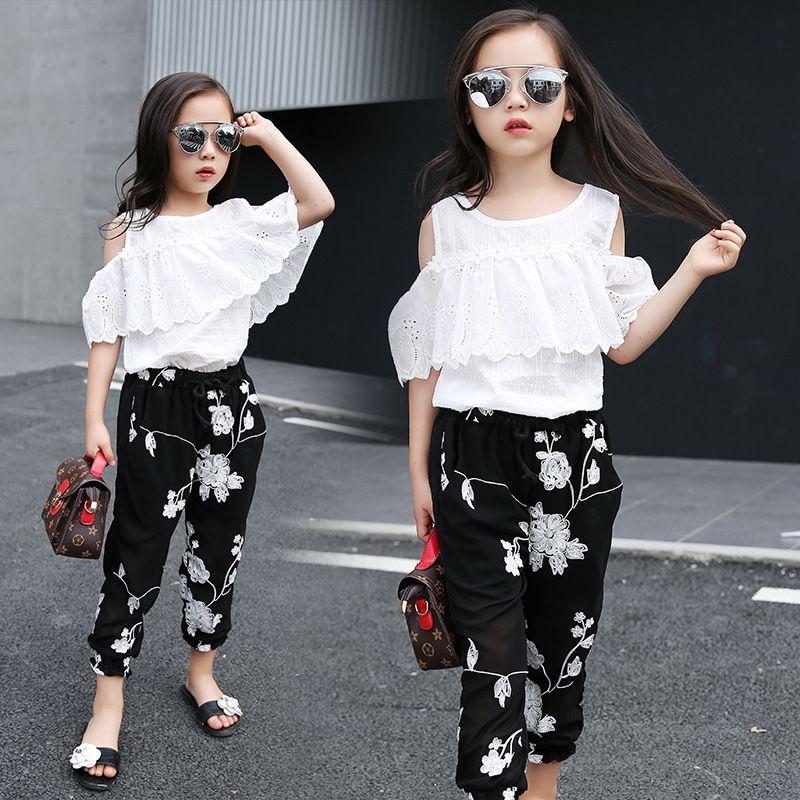 36c6e87c4 2019 2018 Summer Kids Fashion Girls Clothing Sets White Lace Blouse ...