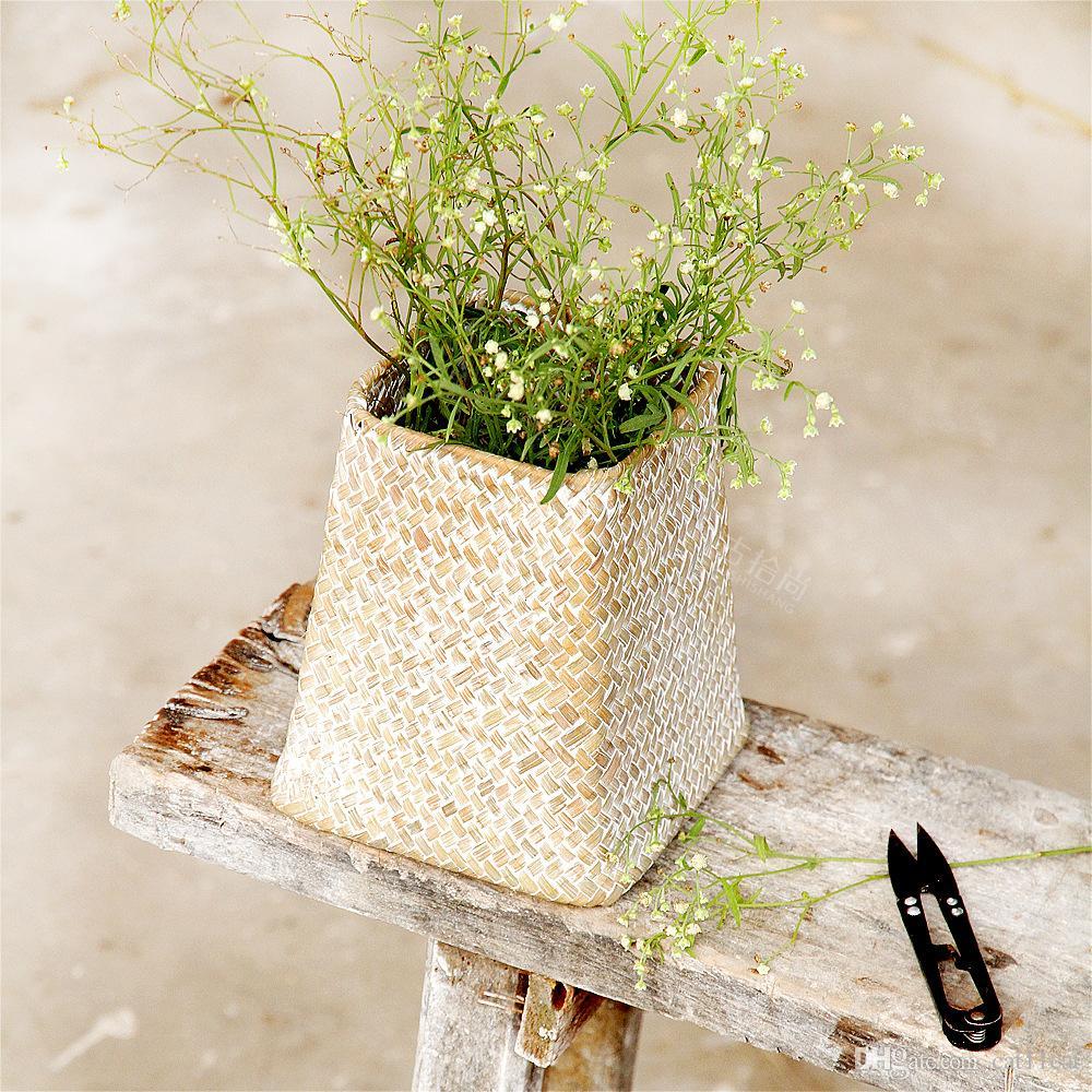 Organisateur de table en osier décoratif naturel