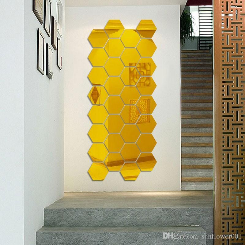 2018 Hot Hexagon Acrylic Mirror Wall Stickers Diy Art Wall Decor ...