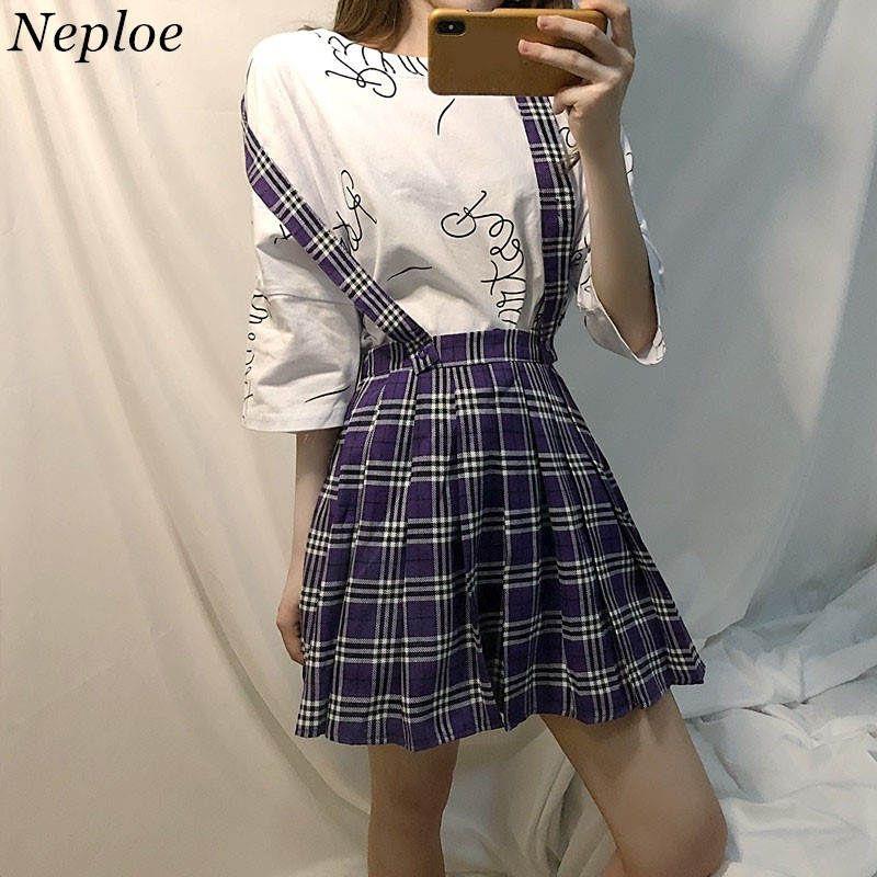 888cb2acad 2019 Neploe Vintage Purple Plaid Skirt High Waist Strap Skirts 2018 Korean  Style Causal Skirt Woman Fashion A Line Mini Skirts 35940 From Berniee, ...